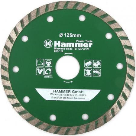 Диск алм. Hammer Flex 206-112 DB TB 125x22мм турбо диск алм hammer flex 206 112 db tb 125x22мм турбо