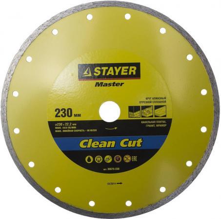 Круг алмазный STAYER MASTER 36675-230 отрезной сплошной влажная резка 22.2х230мм