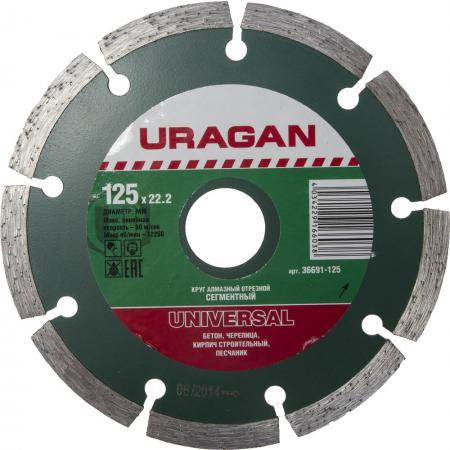 Круг алмазный URAGAN 36691-125 сегментный сухая резка 22.2х125мм бур uragan 29311 260 06