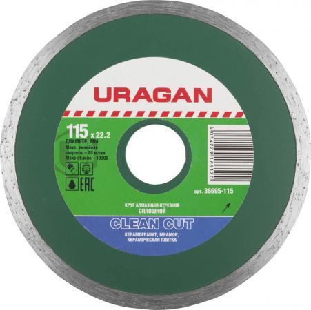 Круг алмазный URAGAN 36695-115 сплошной влажная резка 22.2х115мм бур uragan 29311 260 06