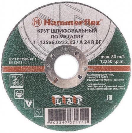 Шлифовальный круг 125 x 6.0 x 22,23 A 24 R BF Круг шлифовальный Hammer Flex 232-017 по металлу