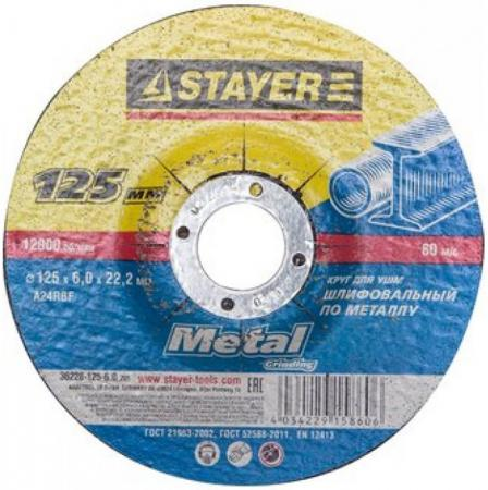 Круг зачистной STAYER MASTER 36228-125-6.0_z01 абразивный по металлу 125х6х22.2мм