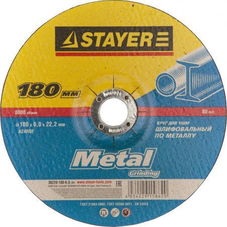 Круг зачистной STAYER MASTER 36228-180-6.0_z01 абразивный по металлу 180х6х22.2мм