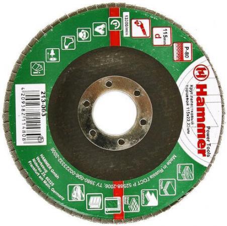115 Х 22 Р 80 тип 1 КЛТ Hammer Flex 213-003 Круг лепестковый торцевой