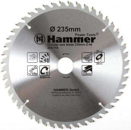 Купить Диск пильный Hammer Flex 205-118 CSB WD 235мм*48*30/20мм по дереву