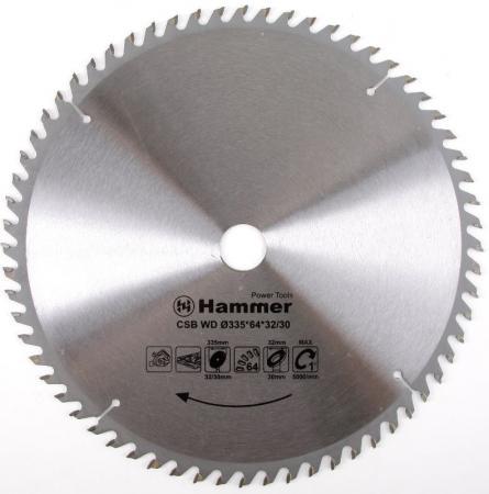 Диск пильный Hammer Flex 205-121 CSB WD 335мм*64*32/30мм по дереву цена 2017