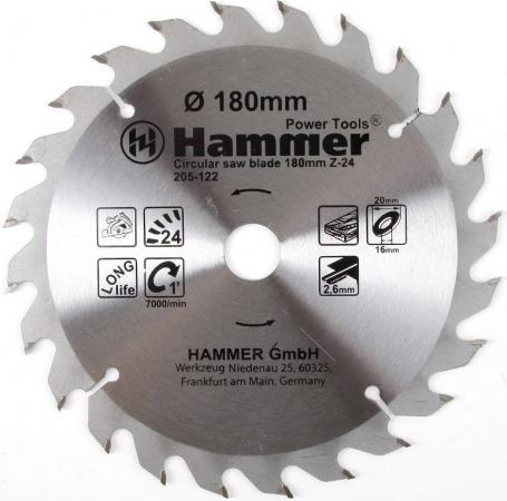 Диск пильный Hammer Flex 205-122 CSB WD 180мм*24*20/16мм по дереву диск пильный irwin pro по дереву 300x24tx30 25 20