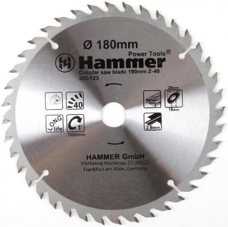 Диск пильный Hammer Flex 205-123 CSB WD 180мм*40*20/16мм по дереву