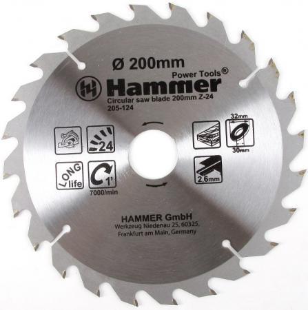 Диск пильный Hammer Flex 205-124 CSB WD 200мм*24*32/30мм по дереву цена 2017