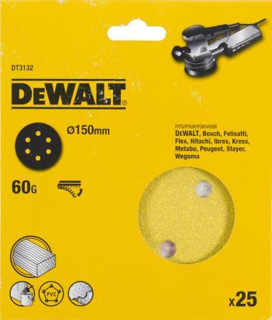 Круг фибровый DeWALT DT3132-QZ для эксц.шлифмашин, 150мм, 6 отв., 60G, 25шт. круг шлифовальный metabo 150мм р120 6 отв 25шт 624023000