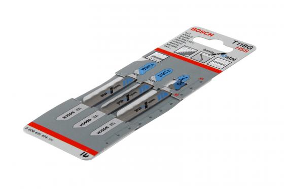 Пилка для лобзика BOSCH T118G (2.608.631.674) металл, 92мм, шаг 0.7, HSS, 3шт пилки для лобзика bosch 92мм 3шт t102bf clean for pммa 2 608 636 780