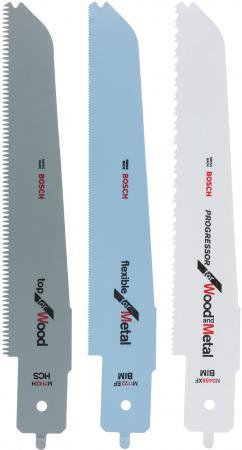Набор полотен пильных BOSCH 3 шт. (2.608.656.934) дерево/металл, 235мм, 3шт., для ножовки BOSCH PFZ набор пильных полотен для пеноматериалов bosch gsg 300