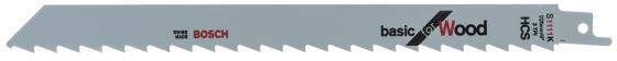 Полотно для сабельной пилы BOSCH S 1111 K (2.608.650.617) дерево, 225мм, HCS, 3зуб/дюйм, 2шт. bosch 225мм 2шт s1130riff special for cast and brick 2 608 650 969