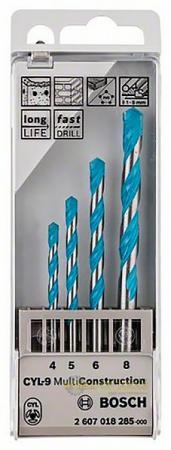 Набор сверл BOSCH MULTICONSTRUCTION (2.607.018.285) универсальные, 4-5-6-8мм, 4шт., пластм. пенал