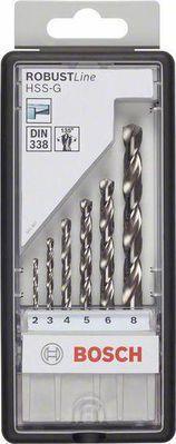 Набор сверл BOSCH Robust Line HSS-G 6 шт. (2.607.010.529) металл, 2-8мм, 6шт. набор сверл bosch robust line hss g 6 шт 2 607 010 529 металл 2 8мм 6шт