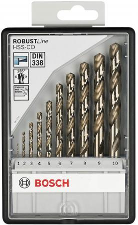 Набор сверл BOSCH Robust Line HSS-Co 10 шт. (2.607.019.925) металл, 1-10мм, 10шт. набор сверл bosch robust line hss g 6 шт 2 607 010 529 металл 2 8мм 6шт