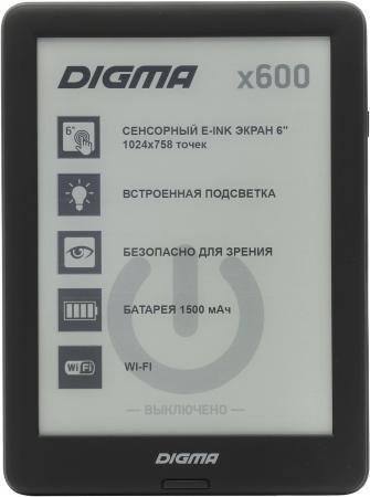 Электронная книга Digma X600 6 E-Ink 8Gb черный электронная книга digma e63s темно серый e63sdg
