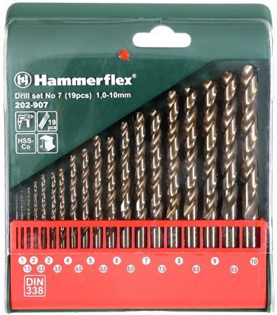 Набор кобальтовых сверл HAMMER Flex 202-907 DR набор No7 1,0-10мм металл, 19шт. набор сверел hammer flex 202 901 dr set no1 5pcs 4 10mm металл 5шт