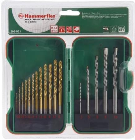 Набор сверл HAMMER Flex 202-921 DR набор No21 1,5-10мм металл, камень,17шт. набор сверл hammer подарок dr set no6 5pcs 5 8мм