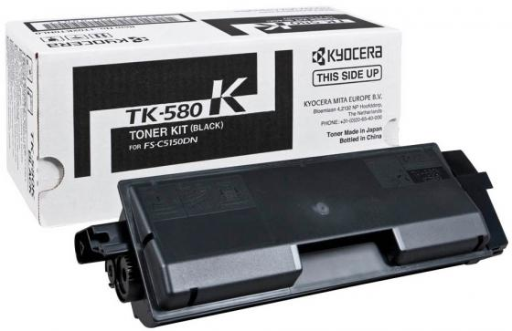 Картридж Kyocera TK-580K для FS-C5150DN черный 3500стр картридж kyocera tk 580k 1t02kt0nl0 для kyocera fs c5150dn черный