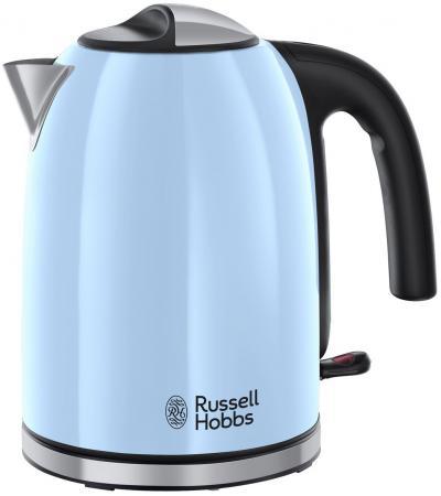 Чайник Russell Hobbs Colours Plus 20417-70 2400 Вт голубой чёрный серебристый 1.7 л нержавеющая сталь чайник russell hobbs 18944 70 2200 вт 1 7 л нержавеющая сталь серый