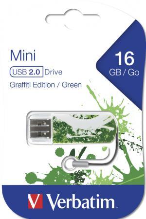 Флешка USB 16Gb Verbatim Mini Graffiti Edition 49413 USB2.0 зеленый/рисунок флешка usb 16gb verbatim mini elements edition 49406 usb2 0 черный рисунок