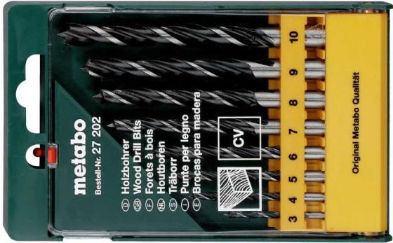 Набор сверл METABO 627202000 CV 8шт. по дереву 3-10мм пластик.короб набор сверл metabo 627705000