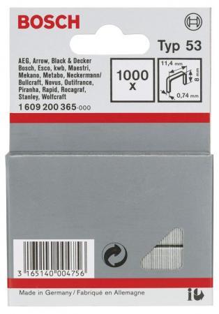 Скобы для степлера Bosch 8 мм 1000 шт скобы bosch для строительного степлера тип t53 6 мм 1000 шт