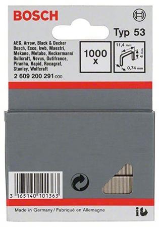 Скобы для степлера BOSCH 2609200291 1000шт. 4мм Т53 для HT8/14 HMT 53 скобы для степлера bosch 6мм тип 53 1000шт 2 609 200 214