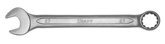 Ключ комбинированный KRAFT КТ 700519 (27 мм) хром-ванадиевая сталь (Cr-V) ключ комбинированный kraft с храп механизмом 12 мм кт 700734