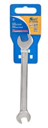 Ключ рожковый KRAFT КТ 700593 (13 / 17 мм)  хром-ванадиевая сталь (Cr-V)