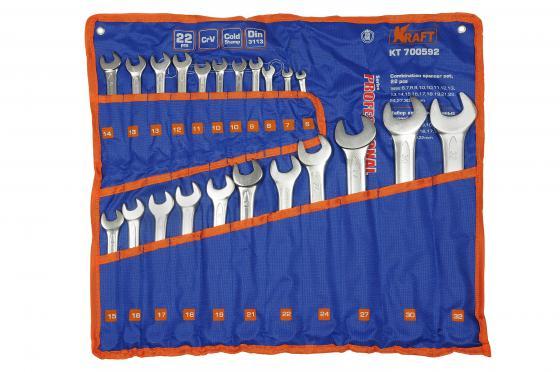 купить Набор комбинированных ключей KRAFT КТ700592 (6 - 32 мм) 22 предмета хром-ванадиевая сталь (Cr-V) онлайн