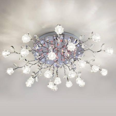 Потолочная светодиодная люстра с пультом ДУ Eurosvet Bloomy 80115/23 хром/синий+красный+фиолетовый