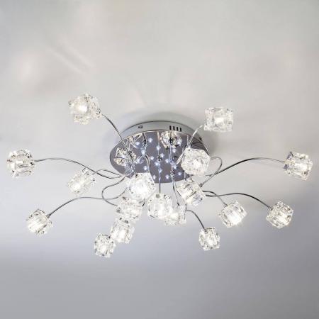 Потолочная светодиодная люстра с пультом ДУ Eurosvet Trinity 80113/17 хром/белый auo 12303 z05