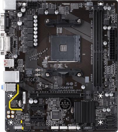 Материнская плата GigaByte GA-AB350M-DS2 Socket AM4 AMD B350 2xDDR4 1xPCI-E 16x 2xPCI-E 1x 4xSATAIII mATX Retail мат плата для пк asrock ab350m socket am4 amd b350 2xddr4 1xpci e 16x 1xpci e 1x 4xsataiii matx retail