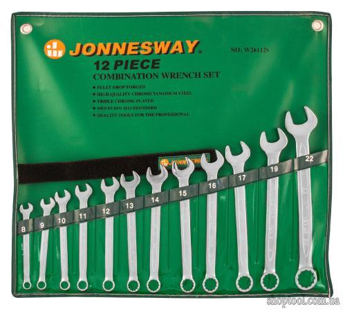 Набор комбинированных ключей JONNESWAY W26112S (8 - 22 мм) 12 шт.