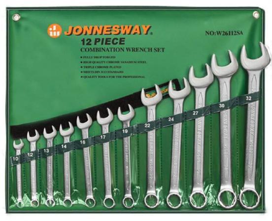 Набор комбинированных ключей JONNESWAY W26112SA (10 - 32 мм) 12 шт.