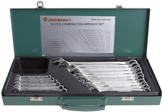 Набор комбинированных ключей JONNESWAY W26116S (6 - 24 мм) 16 шт. набор ключей комбинированных jonnesway w26116s 16 предметов 47403
