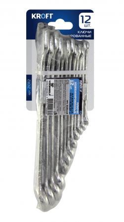 Набор комбинированных ключей KROFT 210112 (6 - 22 мм) 12 шт.