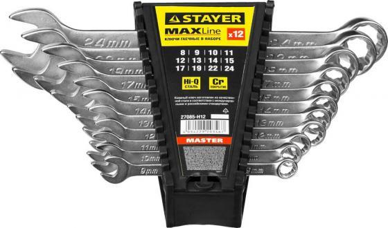 Набор комбинированных ключей STAYER 27085-H12 (8 - 24 мм) 12 шт. stayer 2992 h12