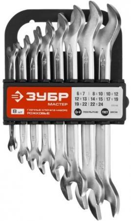 Набор рожковых ключей ЗУБР 27011-H8 (6 - 24 мм) 8 шт.