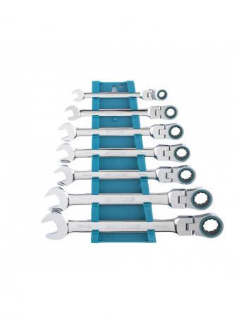 Набор ключей комбинированных GROSS 14891 с трещоткой, 8 - 19 мм, 7шт., шарнирные, CrV набор гаечных комбинированных ключей с трещоткой 7 шт gross 14891 комбинированные ключи