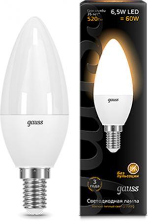 Лампа светодиодная GAUSS 103101107 LED Candle E14 6.5W 3000К candle style e14 3w 190 lumen warm white 3 led light bulb 110 250v