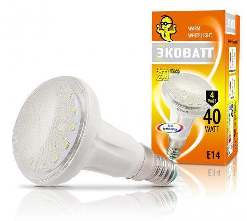 Лампа светодиодная ECOWATT R50 230В 4(40)W 2700K E14 теплый белый свет, рефлекторная лампа энергосберегающая ecowatt fsp 40w 840 e27 холодный белый свет витая люминесцентная