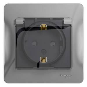 Розетка SCHNEIDER ELECTRIC GLOSSA 1063750 с заземлением со шторками с крышкой. 16А. IP44. АЛЮМИНИЙ таймер наружный electraline 59502 16а 230v ip44