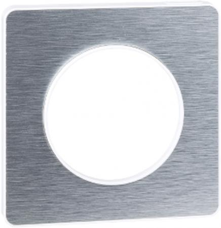 Рамка SCHNEIDER ELECTRIC 268302 Odace 1-м полиров. алюм. S52P802J рамка schneider electric s53p802 odace