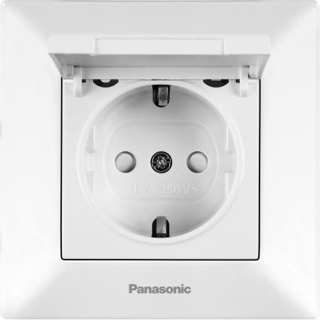 Розетка PANASONIC WMTC0210-2WH-RES Arkedia с/з с крышкой белая