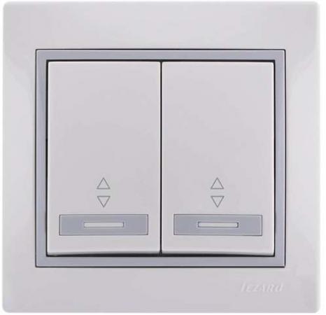 Выключатель LEZARD 701-0215-106 серия скр.проводки Мира проходной двойной белый с серой вставкой