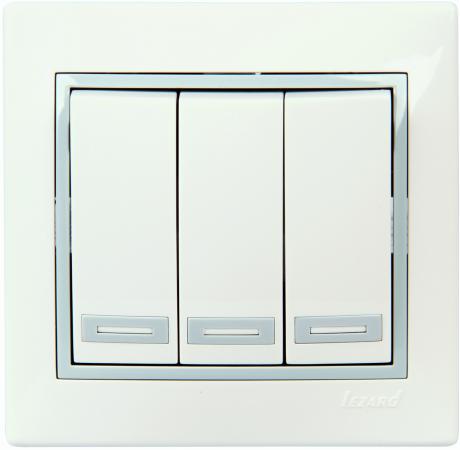 Выключатель LEZARD 701-0215-109 серия скр.проводки Мира тройной белый с серой вставкой