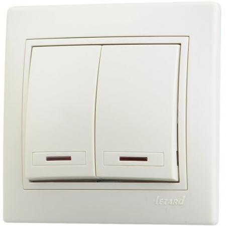 Выключатель LEZARD 701-0303-112 серия скр.проводки Мира двойной подсветка кремовый со вст.